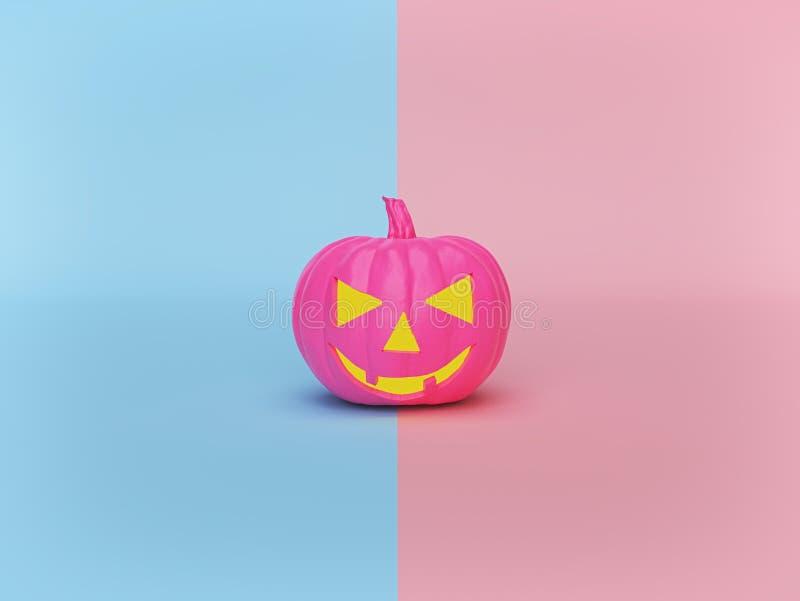 Cute jack o lantern pumpkin on pastel background. minimal Halloween holiday concept. 3d rendering royalty free illustration