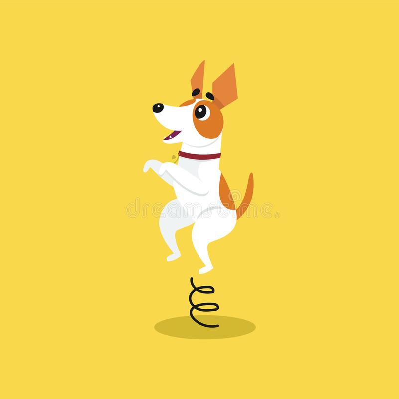 Cute jack russell terrier jumping on springboard, funny pet animal character cartoon vector Illustration royalty free illustration