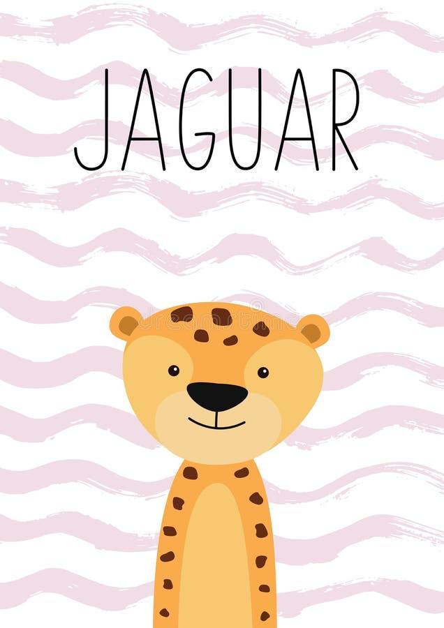 Cute jaguar cartoon character. Poster, card for kids. royalty free illustration
