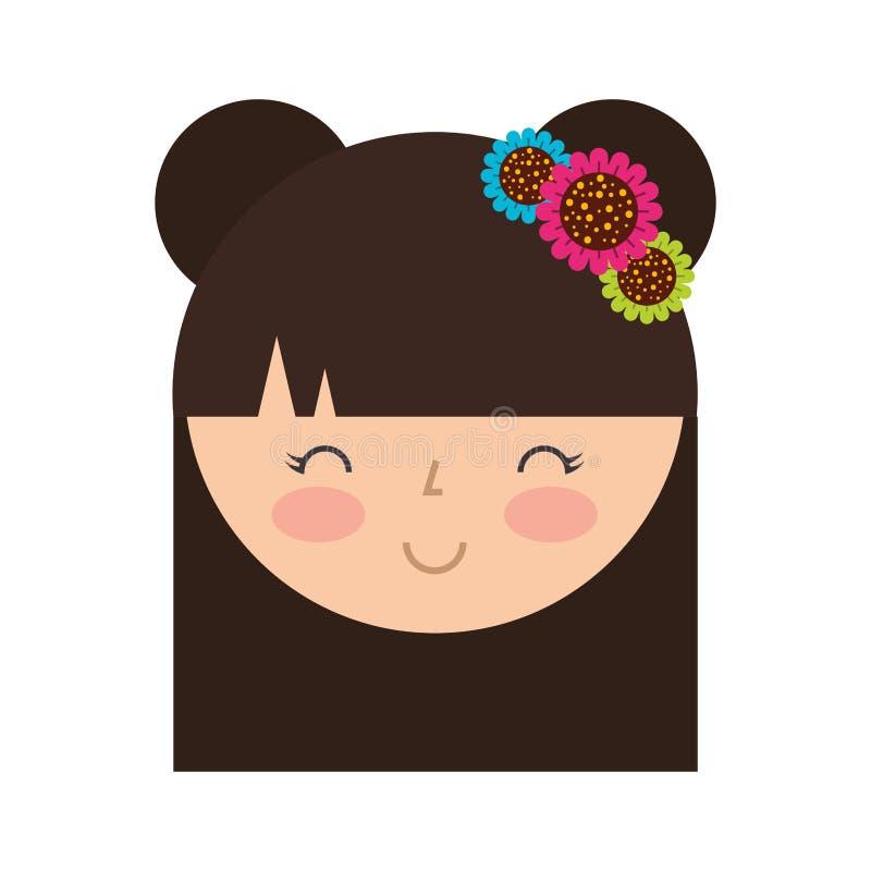 Cute japanese doll head stock illustration