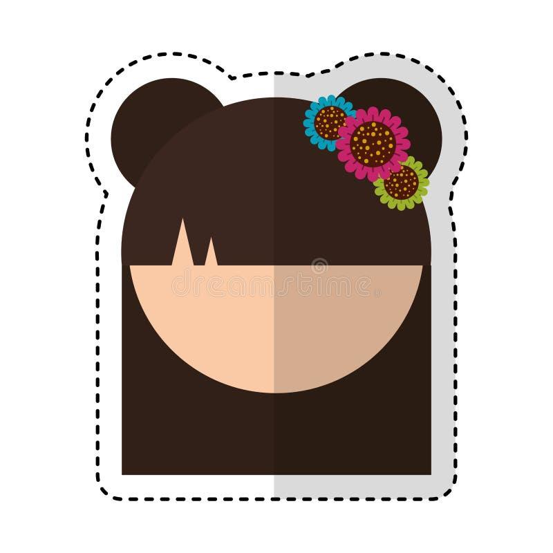 Cute japanese doll head. Vector illustration design vector illustration