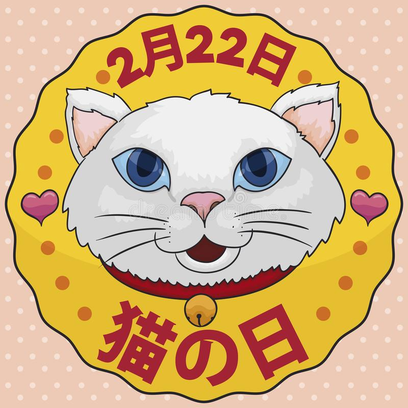 Cute Japanese Kitty with Bell and Hearts Celebrating Cat Day, Vector Illustration. Round button with happy white kitty face wearing a belt with jingle bell royalty free illustration