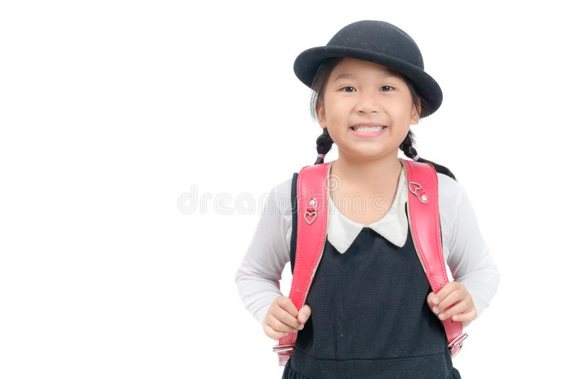 Cute Japanese student with school bag isolated royalty free stock images