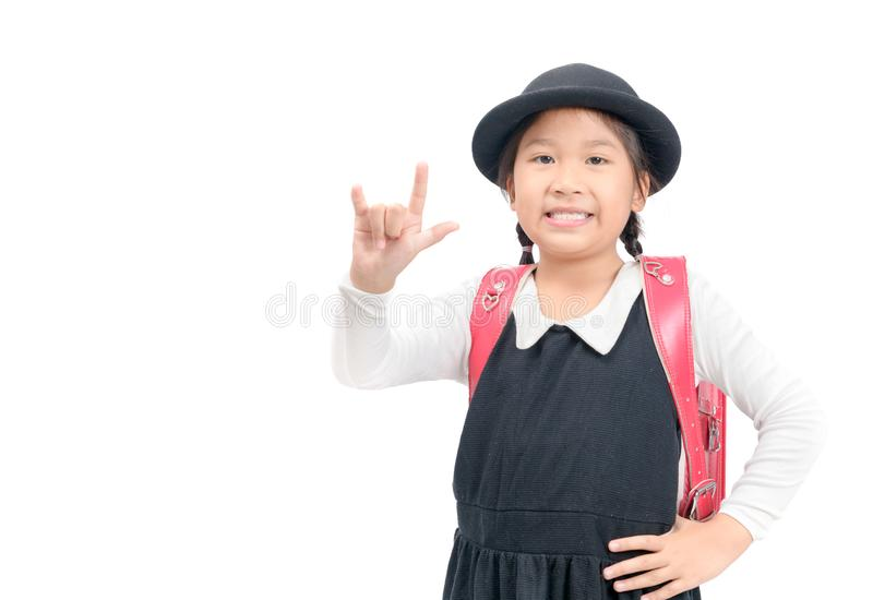 Cute Japanese student show love sign hand isolated stock photos