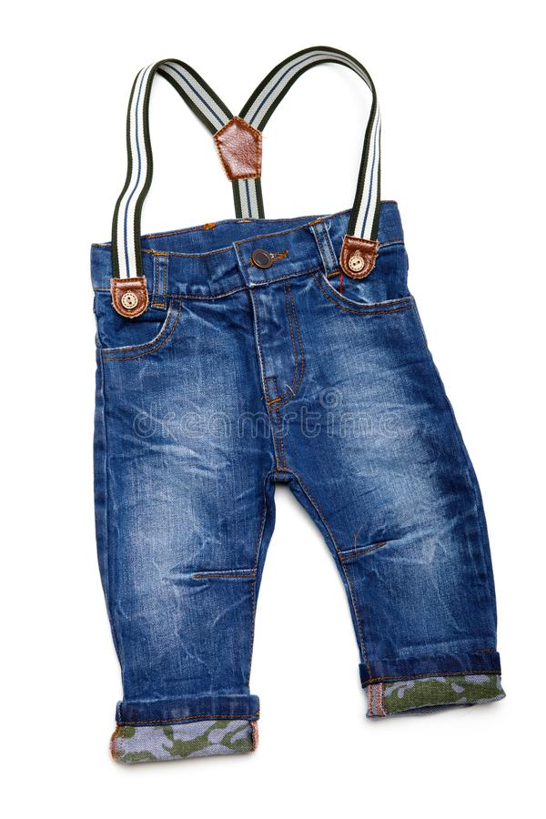 Cute jeans for kids, isolated on white royalty free stock photos