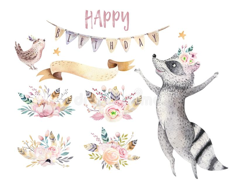 Cute jumping raccoon animal illustration for kids Watercolor boho forest cartoon Birthday patry Balloons invitation. Perfect for nursery posters, pattern stock illustration