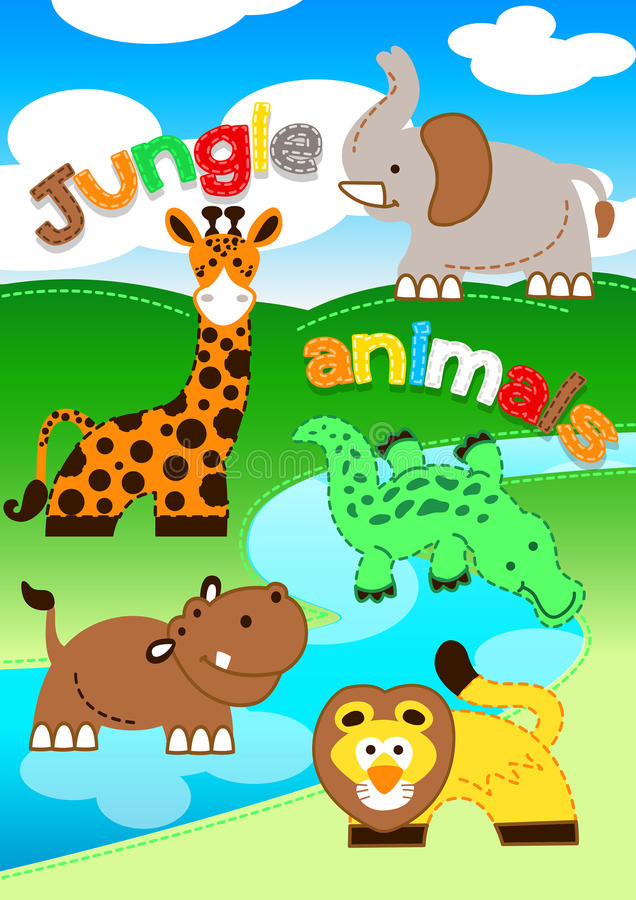 Cute jungle animals standing along a river royalty free illustration