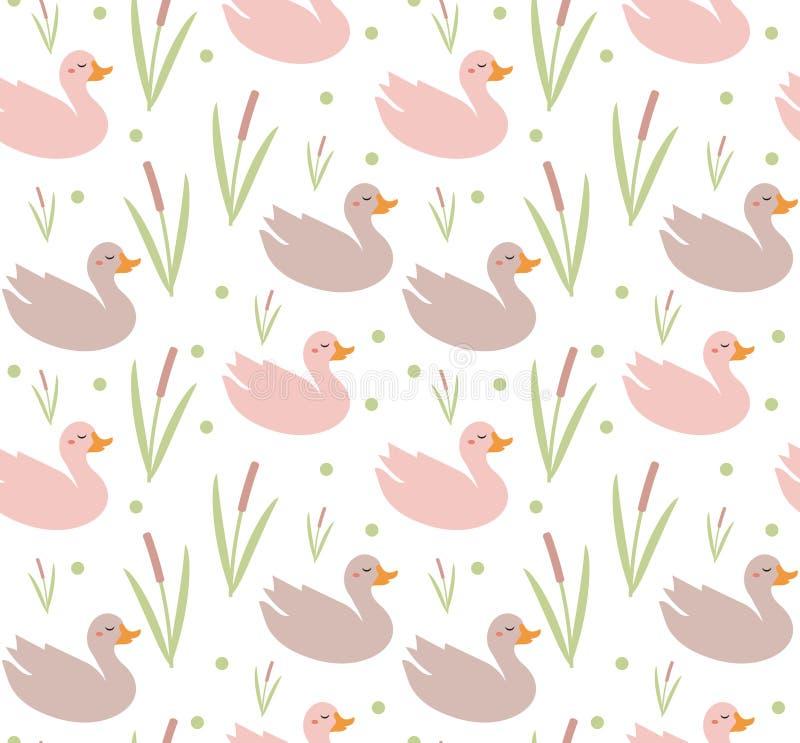 Cute kaczki bez szwu, niekończąca się tekstura Ilustracja wektorowa ilustracja wektor