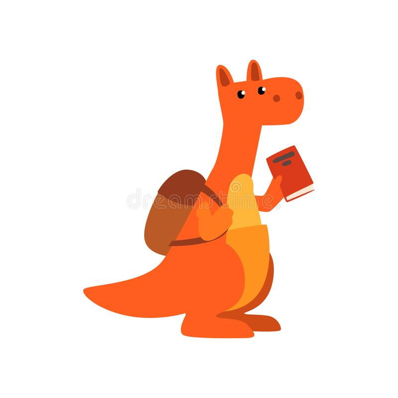 Cute kangaroo animal cartoon character standing with backpack and book, school education and knowledge concept vector royalty free illustration