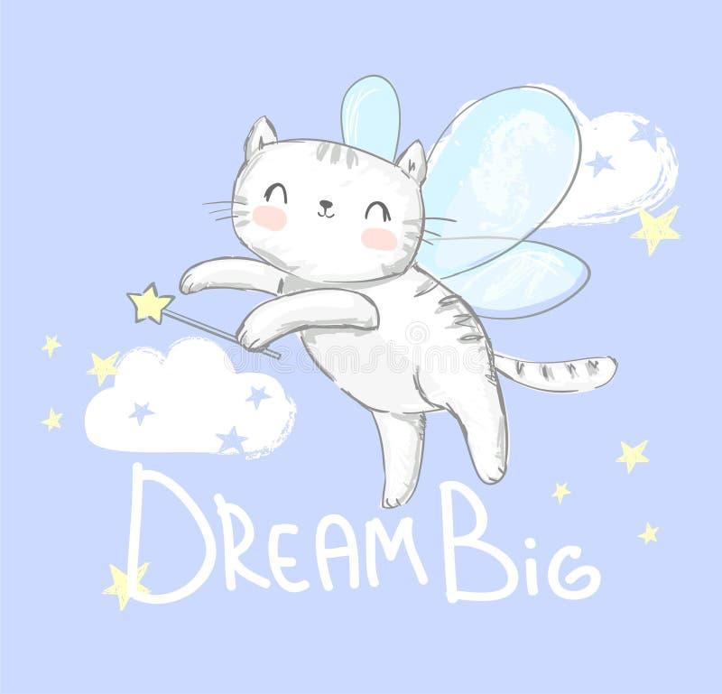 Cute-Katze mit Flügelvektorillustrierung Magic Vector Illustration Kinderausdruck und Kinderposter Fairytale lizenzfreie abbildung
