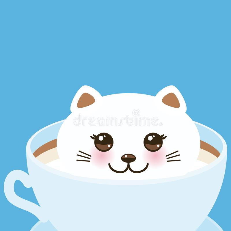 Cute Kawai cat in blue cup of froth art coffee, coffee art isolated on white background. Latte Art 3D. milk foam top on the cup of royalty free illustration