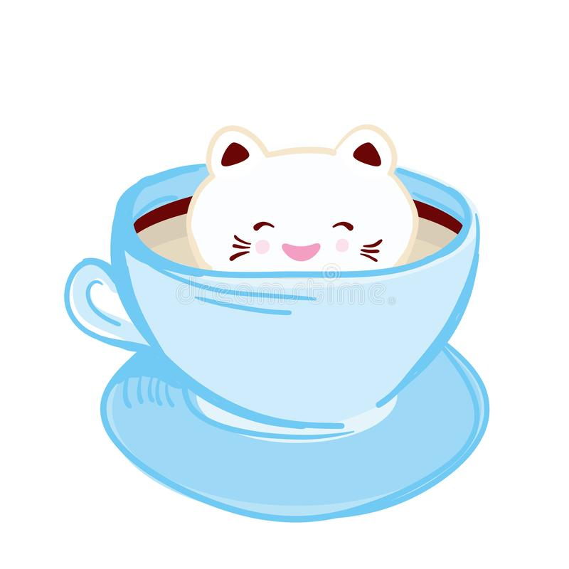 Cute Kawai cat in blue cup of froth art coffee, coffee art isolated on white background. Latte Art 3D. milk foam top on the cup of vector illustration
