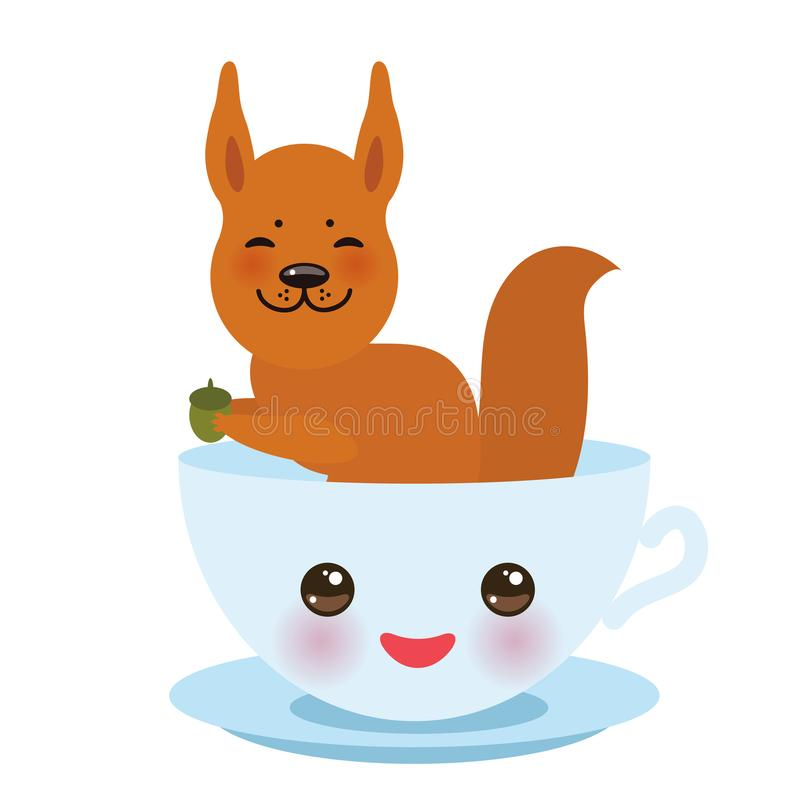 Cute Kawai light blue cup with pink cheeks and eyes with red squirrel isolated on white background. Vector vector illustration