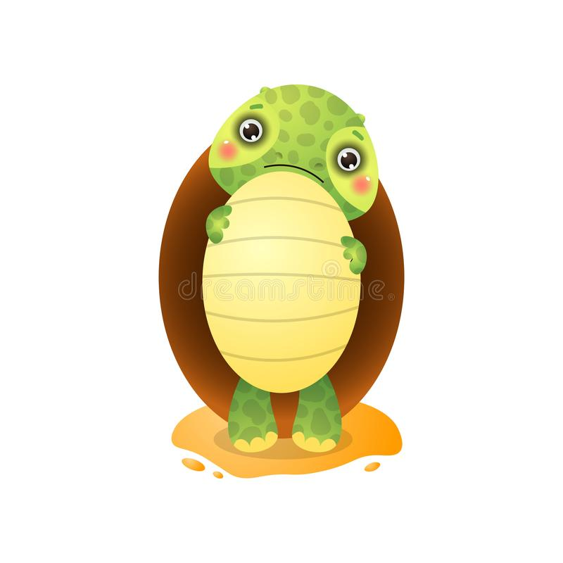 Cute Kawai Turtle Holding Big Egg In Paws Isolated On White