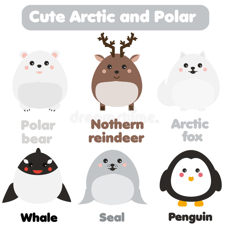 Cute kawaii arctic and polar animals. Children style, isolated design elements, vector. Seal, whale, penguin stock illustration