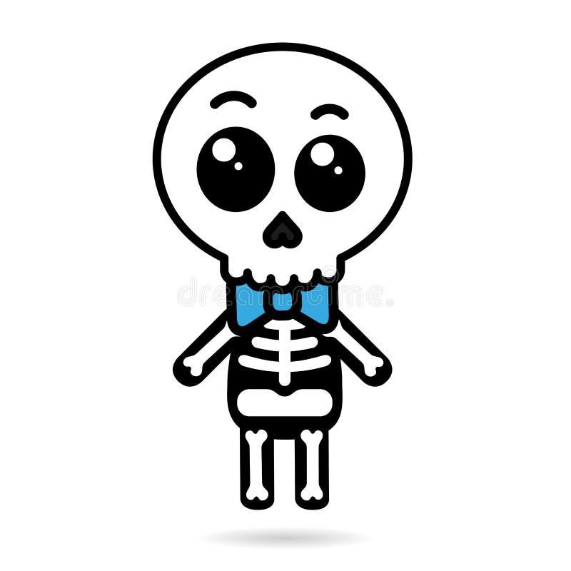 Cute kawaii boy skeleton isolated halloween concept vector illustration