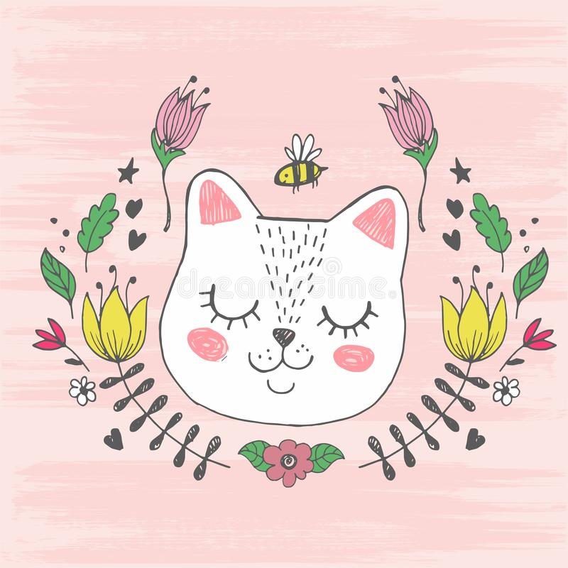 Cute kawaii cat face with bee, flowers. Hand drawing vector illustration vector illustration
