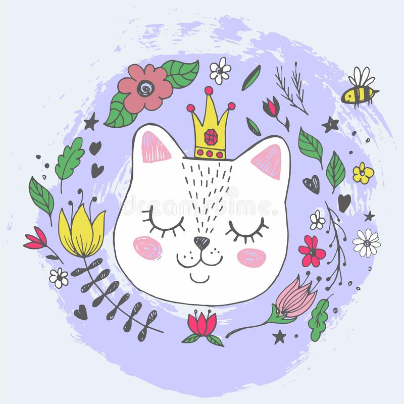 Cute kawaii cat face with glittering crown, flowers. Hand drawing vector illustration stock illustration