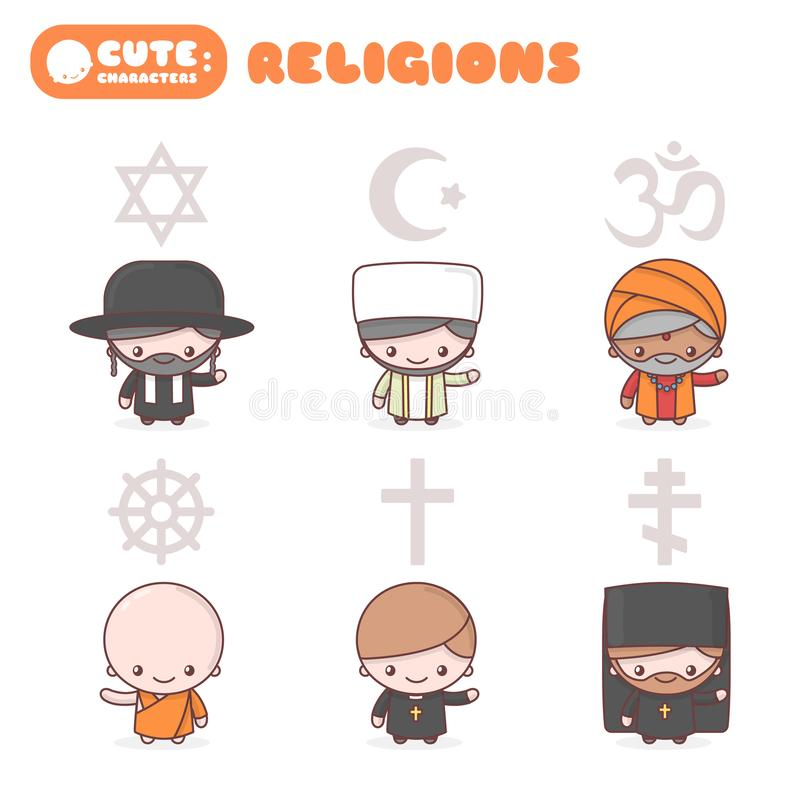 Cute kawaii characters set: People of different religions. Judaism Rabbi. Buddhism Monk. Hinduism Brahman. Catholicism Priest. Christianity Holy father. Islam royalty free illustration