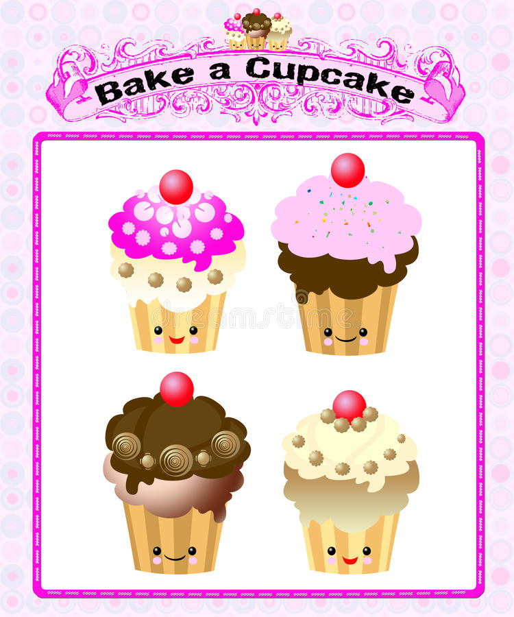 Cute kawaii cup cake. Cute imaages of kawaii cup cake vector illustration