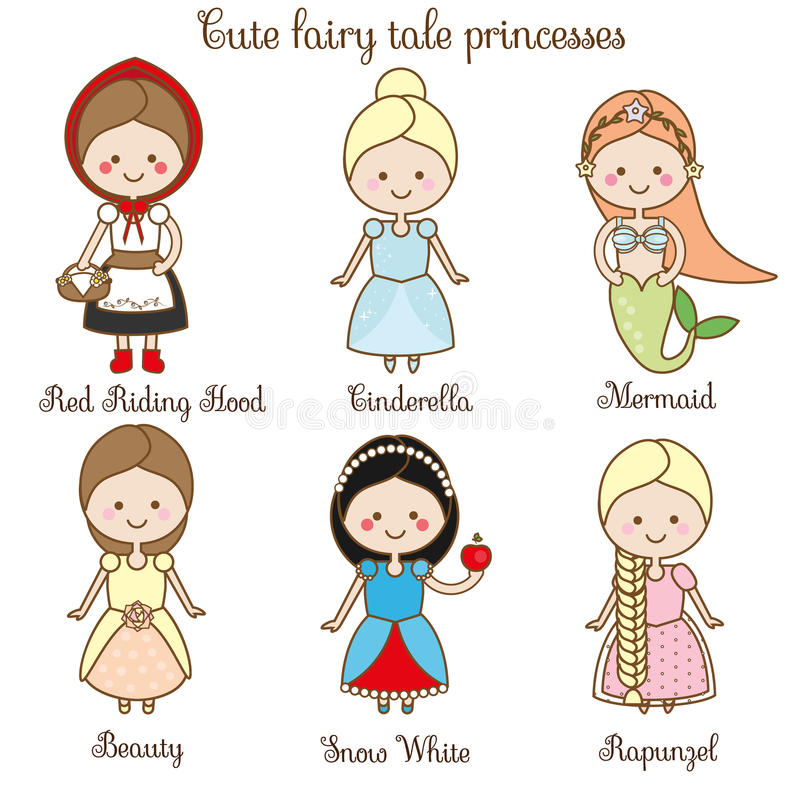 Cute kawaii fairy tales characters. Snow white, red riding hood, rapunzel, cinderella and other princess in beautiful dresses. Car vector illustration