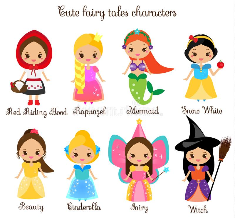 Cute kawaii fairy tales characters. Snow white, red riding hood, rapunzel, cinderella and other princess in beautiful dresses. Car. Cute kawaii fairy tales royalty free illustration
