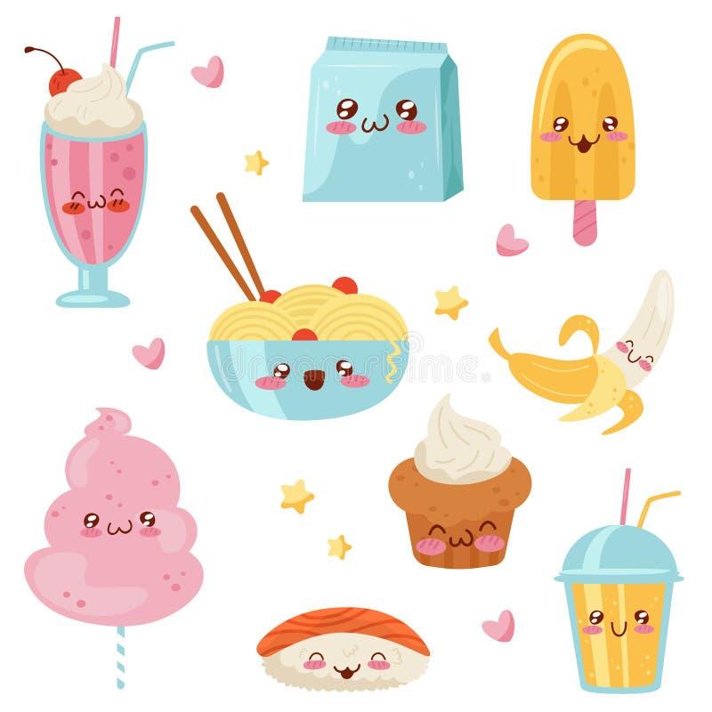Cute Kawaii food cartoon characters set, desserts, sweets, sushi, fast food vector Illustration on a white background. Cute Kawaii food cartoon characters set stock illustration