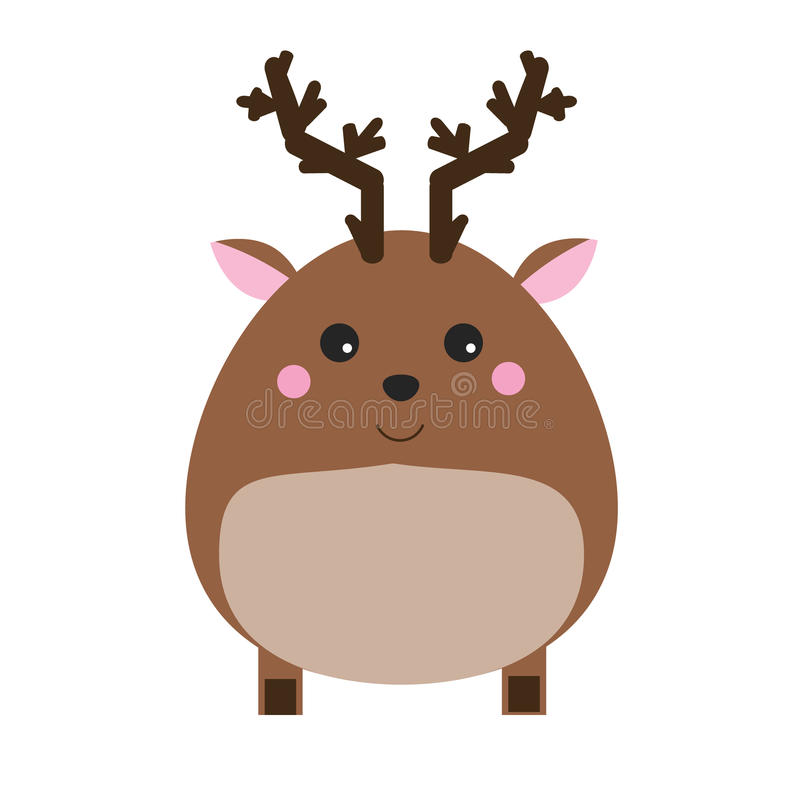 Cute kawaii forest deer character. Children style, vector illustration royalty free illustration
