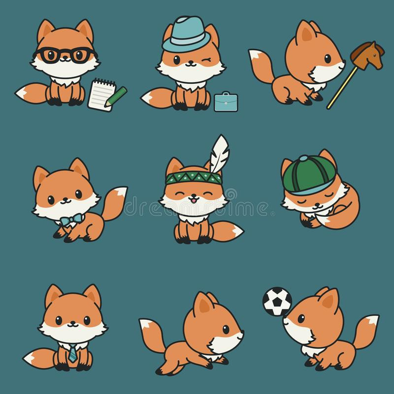Cute kawaii foxes stock illustration