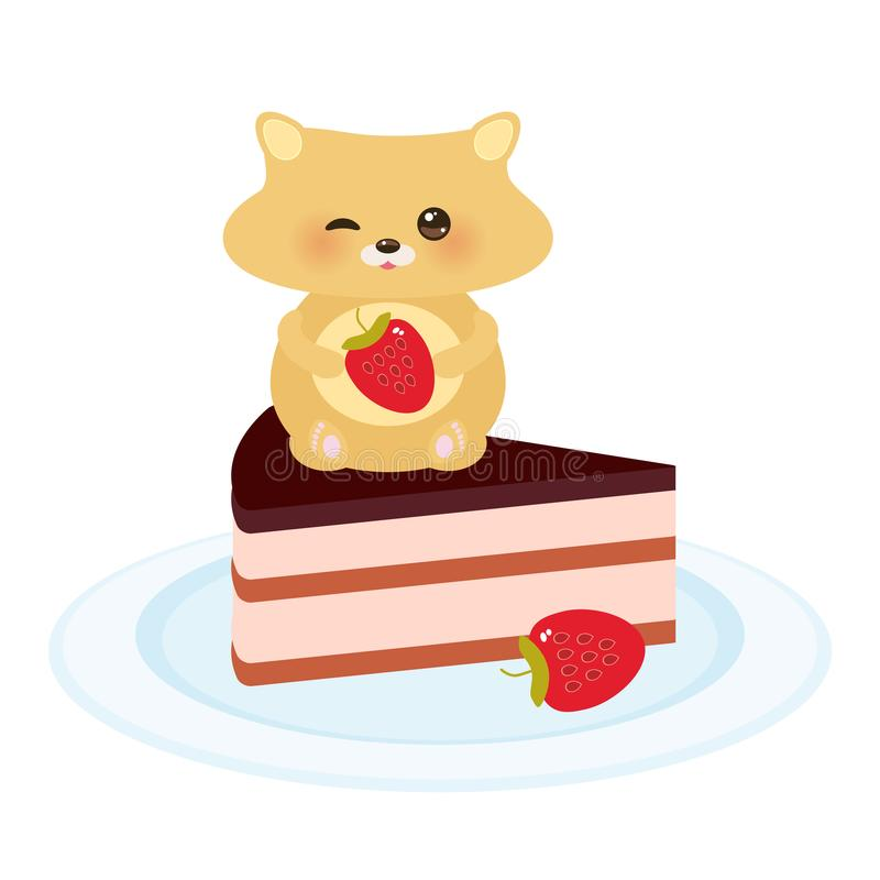 Cute kawaii hamster with fresh Strawberry, cake decorated pink cream and chocolate icing, piece of cake on the blue plate, pastel. Colors on white background stock illustration