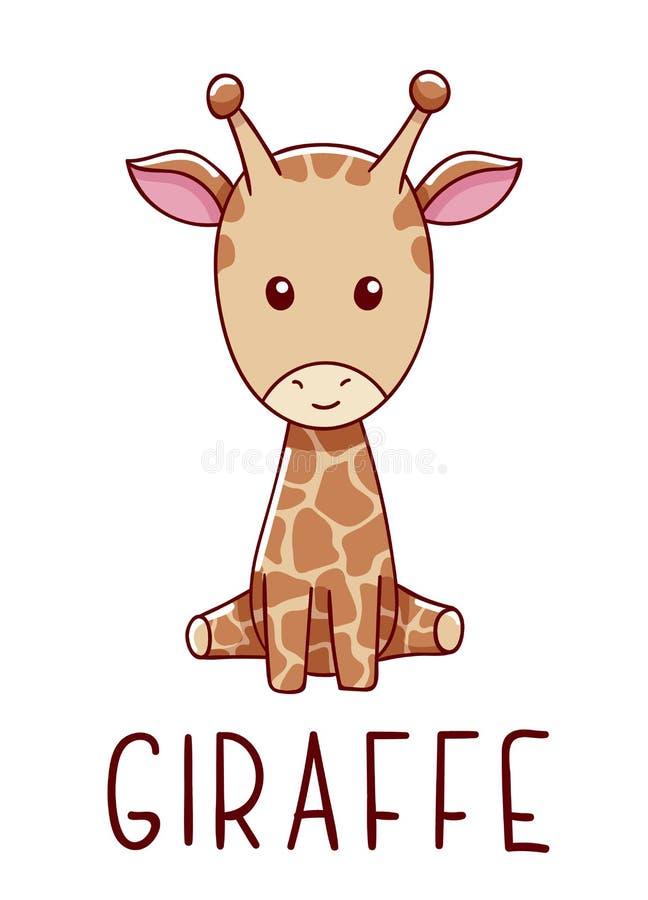 Cute kawaii hand-getekende giraffe doodles, lettering giraffe, geïsoleerd op witte achtergrond vector illustratie