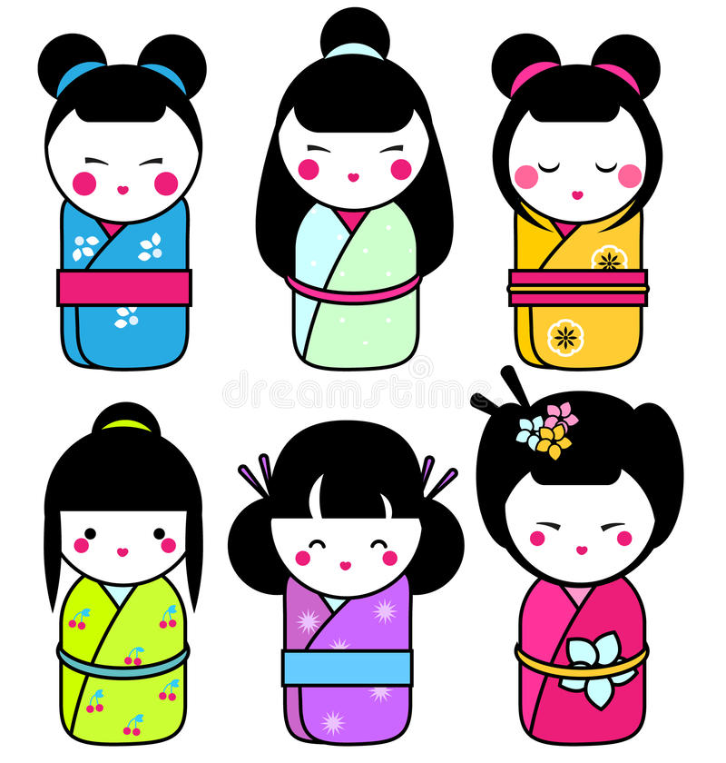 Cute kawaii kokeshi dolls stickers set. Traditional japanese dolls. hand drawn style icons. Vector illustration royalty free illustration