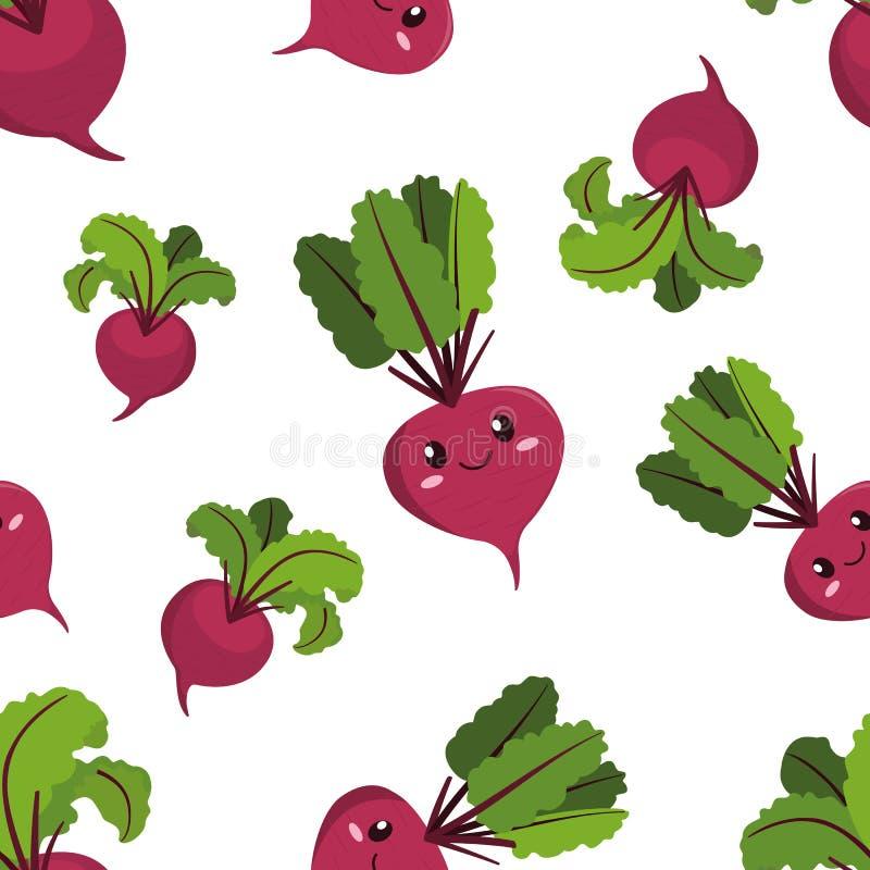 Cute kawaii purple vegetable beet, beetroot with green leaves. Cute kawaii purple vegetable beet, beetroot with smiling face, eyes and green leaves seamless royalty free illustration
