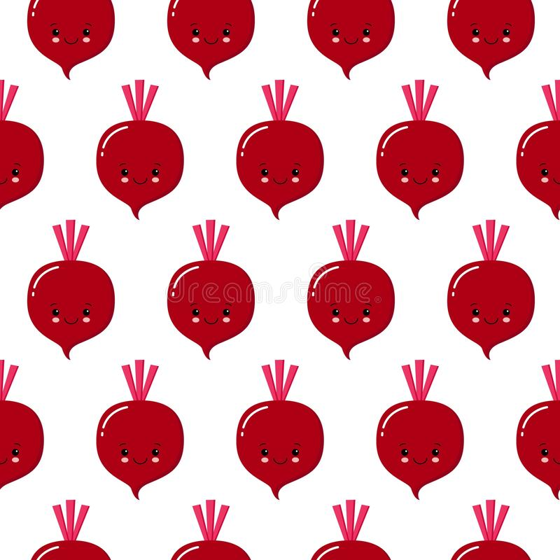 Cute kawaii purple vegetable beet, beetroot with smiling face, eyes and green leaves seamless vectot pattern on white background royalty free illustration