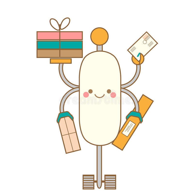 Cute kawaii robot character. Friendly smiling android delivering post boxes. Vector illustration, isolated design element stock illustration