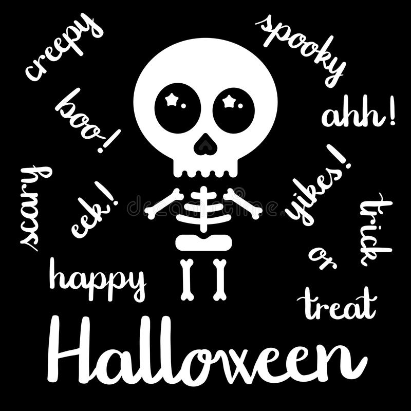 Cute kawaii skeleton halloween handwriting vector vector illustration