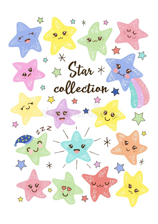 Cute kawaii smiling little stars hand-drawn vector illustration for kids. Baby shower stickers set. royalty free illustration