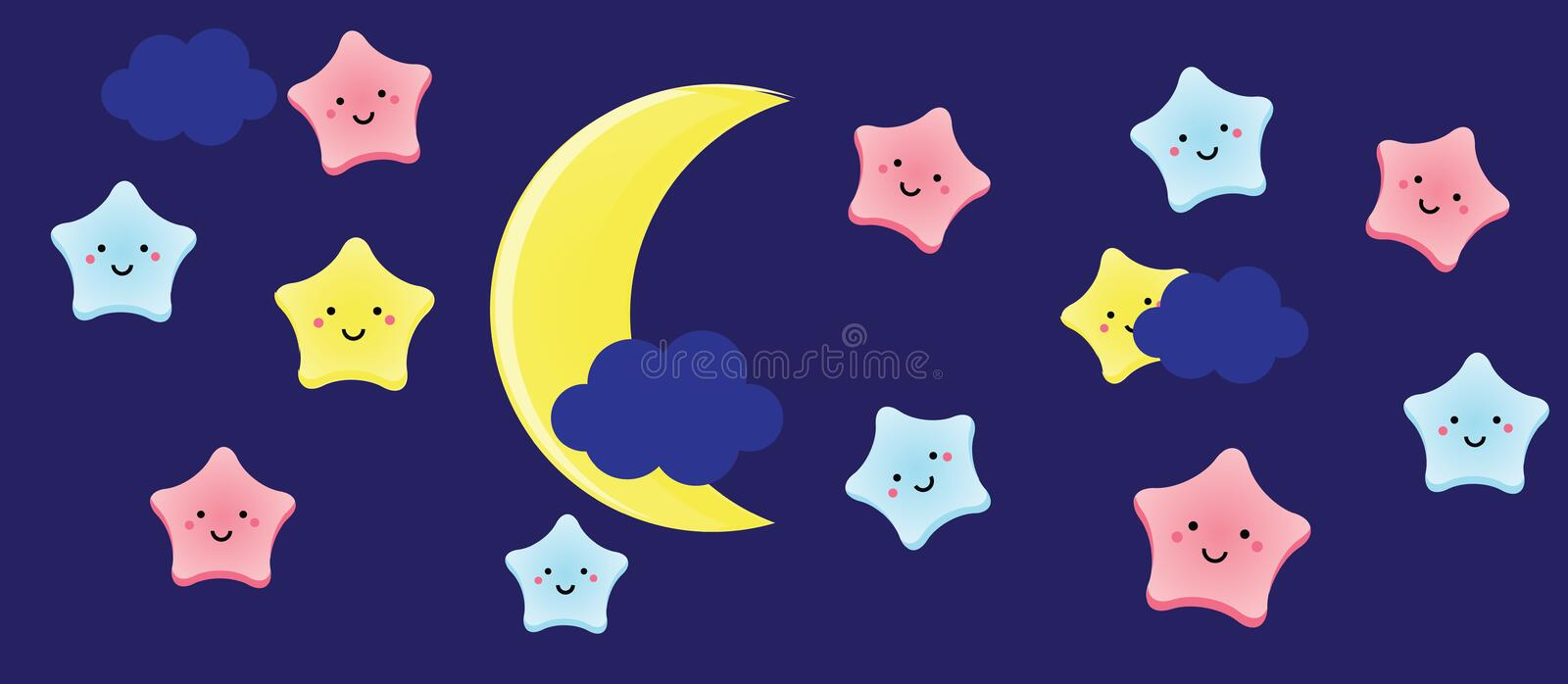 Cute kawaii stars and crescent. Background for kids, babies and children design with night sky characters royalty free illustration