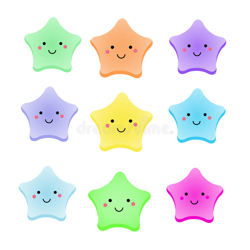 Cute kawaii stars. Isolated design elements for kids, babies and children design with smiling sky characters stock illustration