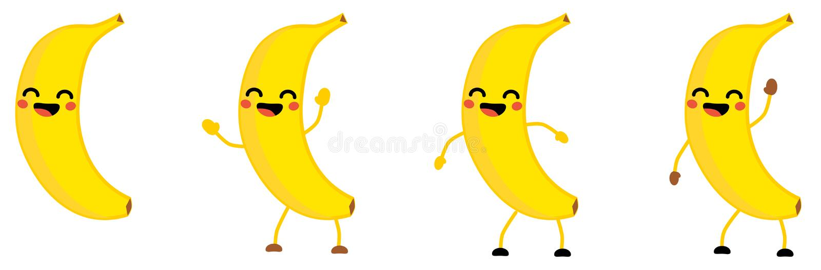 Cute kawaii style Banana fruit icon, eyes closed, smiling with open mouth. Version with hands raised, down and waving. stock illustration