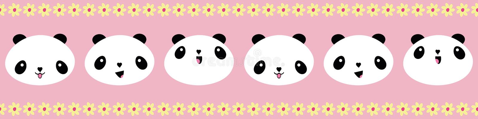 Cute Kawaii style happy pandas border with yellow flower edging. Seamless geometric vector pattern on pink background royalty free illustration