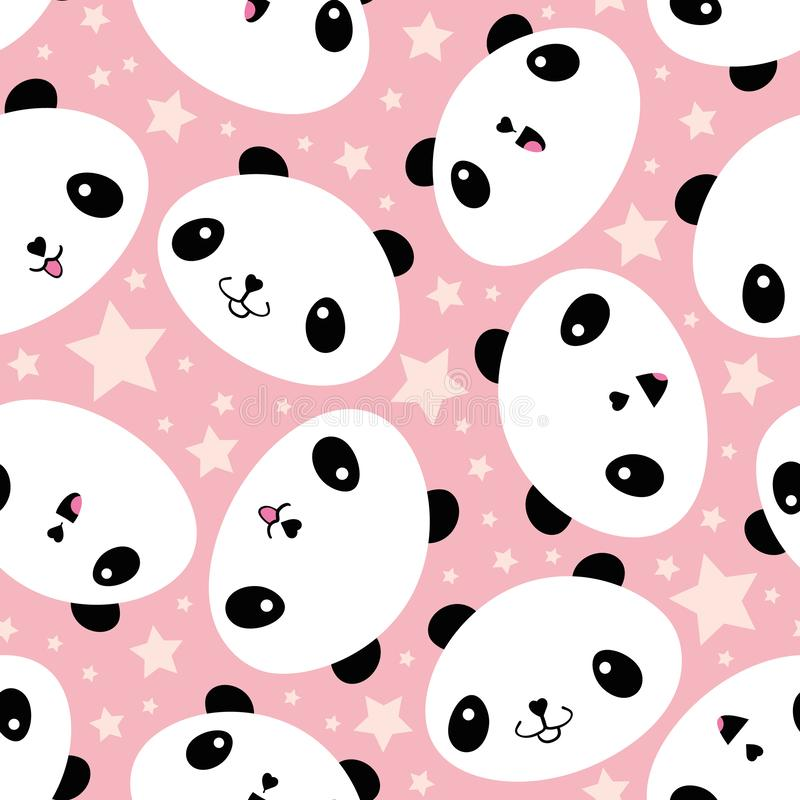 Cute Kawaii style laughing pandas and stars. Seamless vector pattern on soft pink background. Great for children, school royalty free illustration