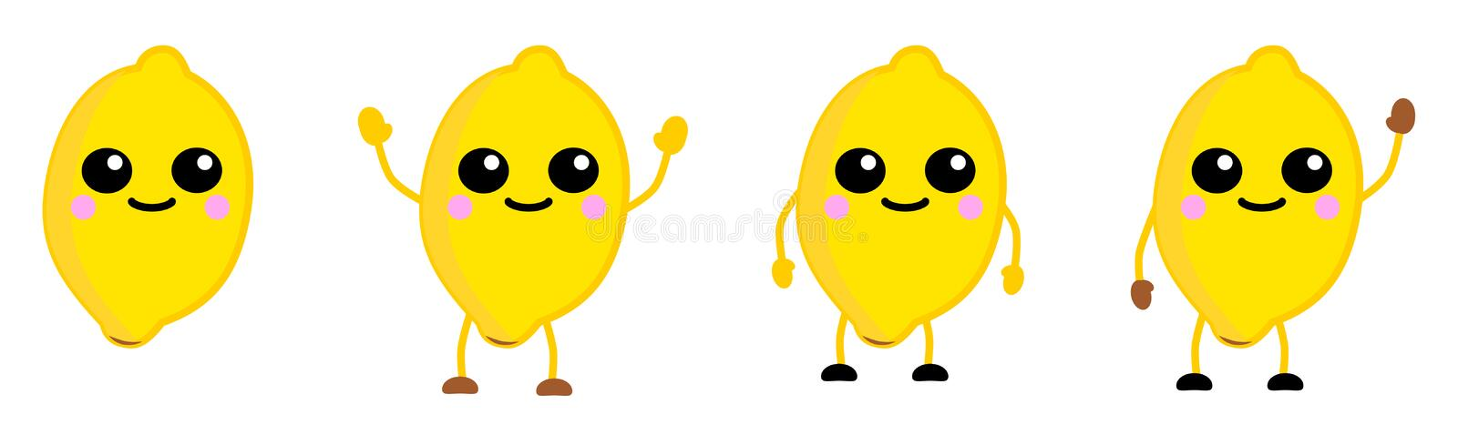 Cute kawaii style lemon fruit icon, large eyes, smiling. Version with hands raised, down and waving. stock illustration