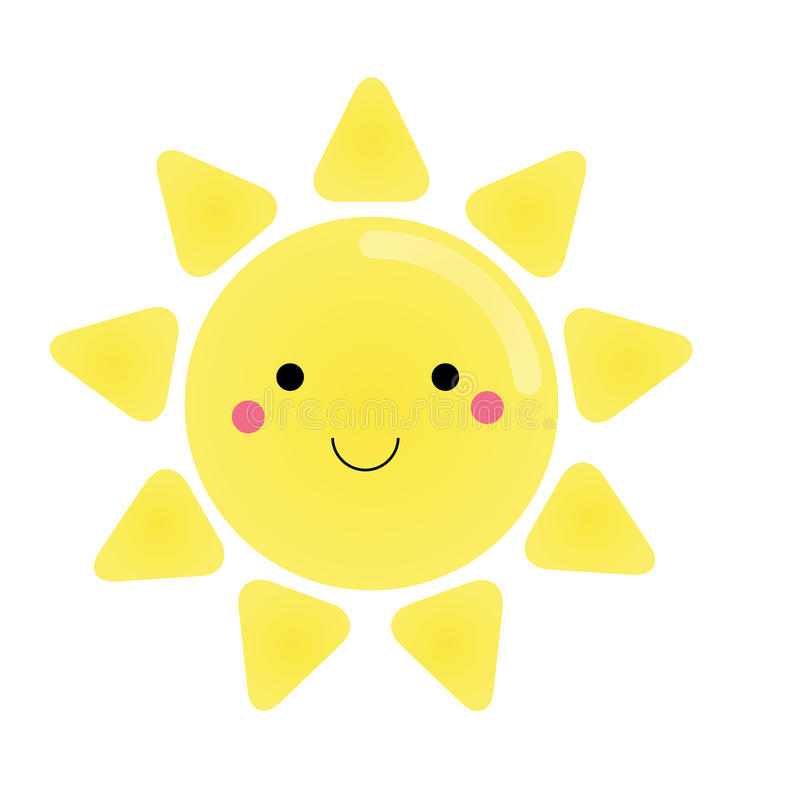 Cute kawaii sun character. Vector illustration for kids, design element royalty free illustration