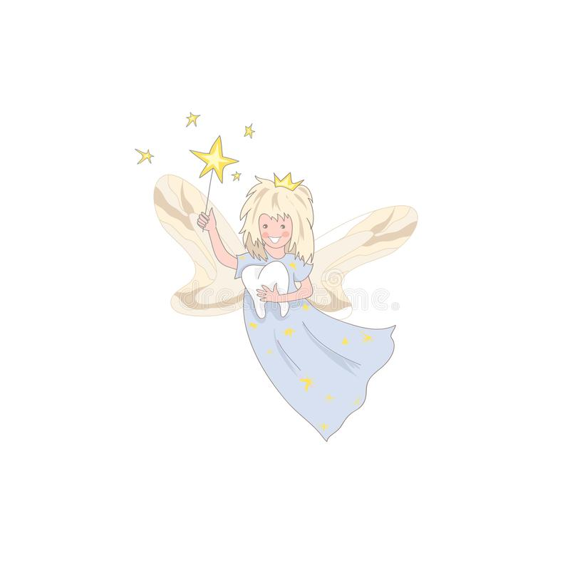 Cute kawaii tooth fairy magic stick and tooth icon isolated stock illustration