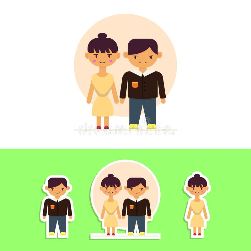 Cute Key Chain or Sticker Couple Flat-Style Vector Design Illustration. Cute man and woman vector design presented using flat style illustration for key chain royalty free illustration