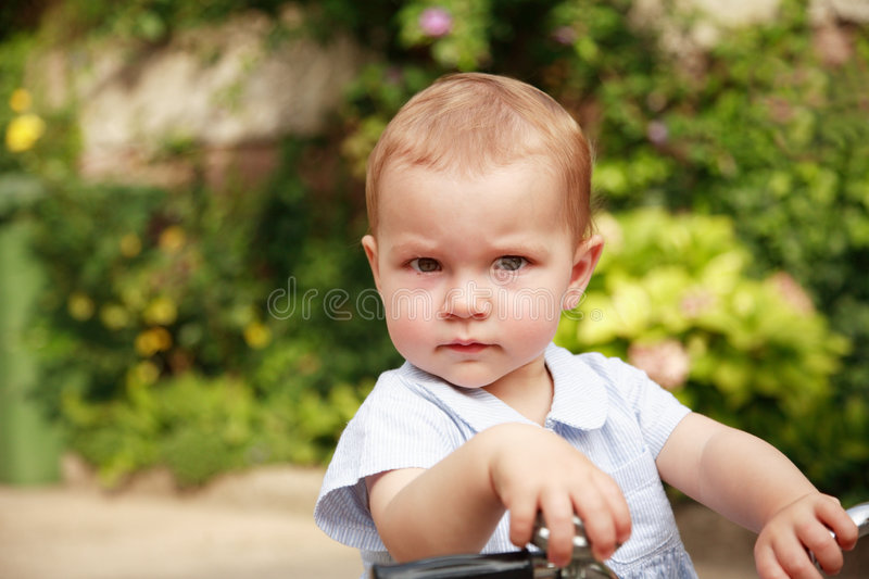 Download Cute kid with bike stock image. Image of interested, curious - 4758515