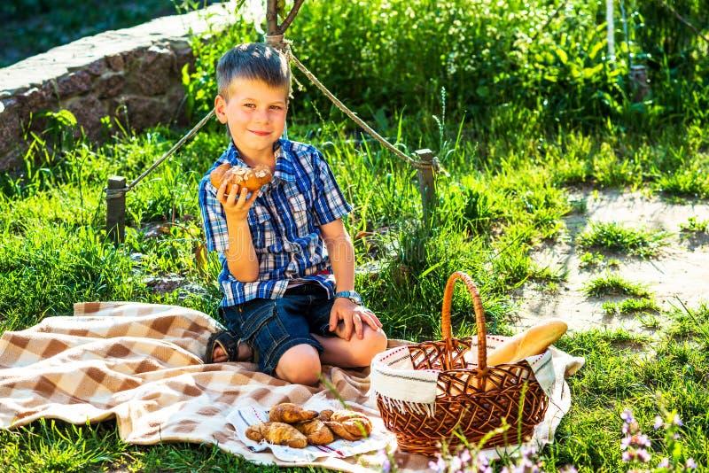 Cute kid boy having picnic royalty free stock image