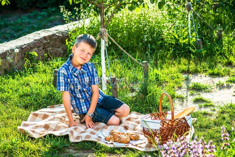 Cute kid boy having picnic royalty free stock images