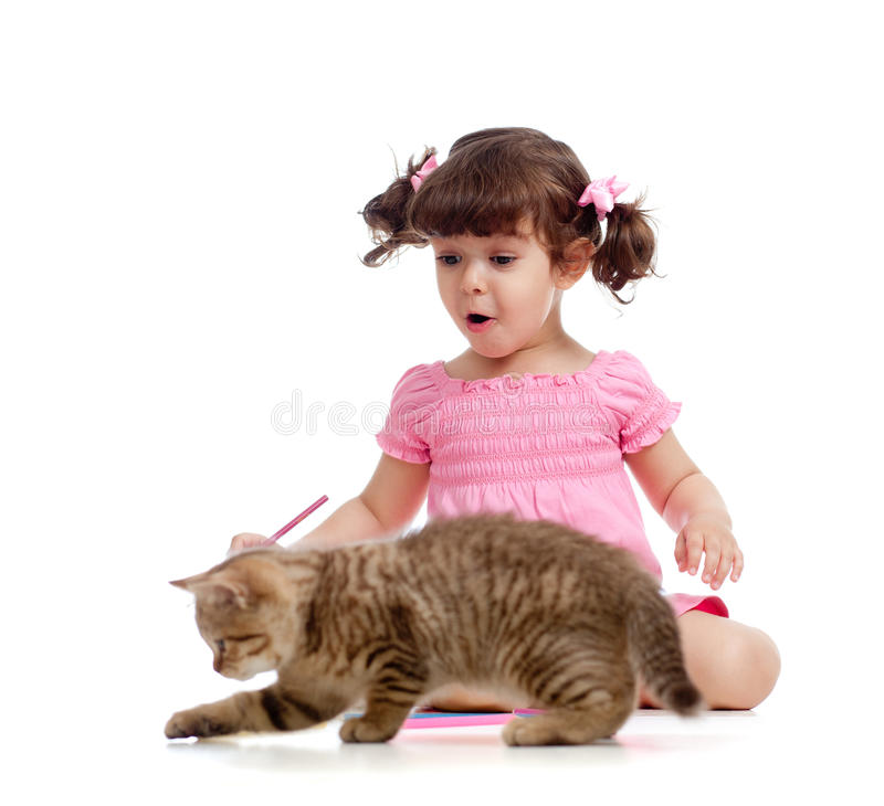 Cute Kid And Cat Kitten Playing With Pencils Royalty Free Stock Photo
